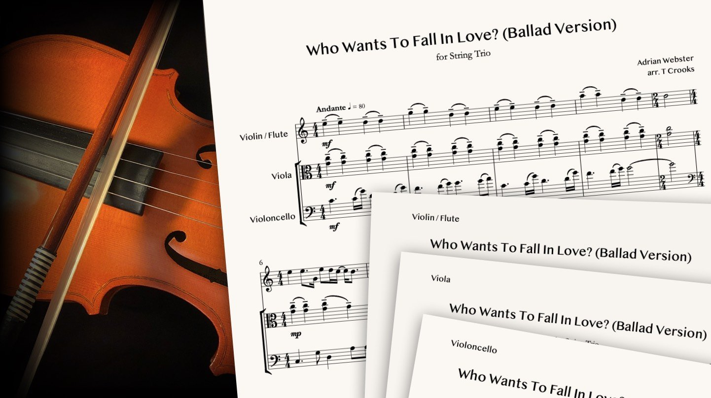 CrusaderBeach - Who Wants To Fall In Love? (Ballad Version) for String Trio - Sheet Music Close-up