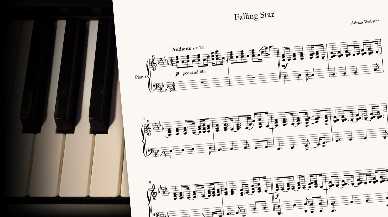 Falling Star by CrusaderBeach - sheet music close-up