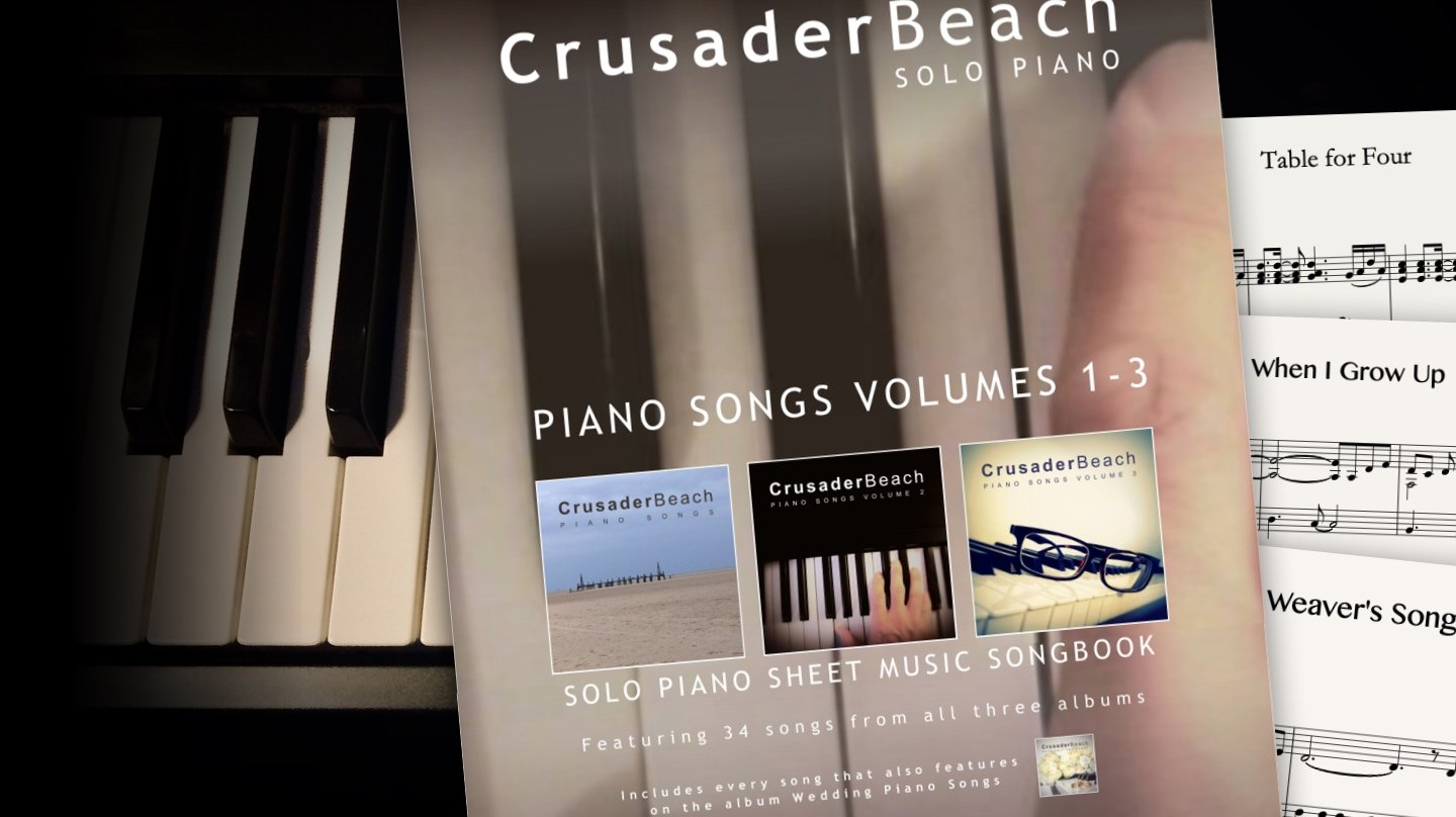 Piano Songs Vols 1-3 (inc Wedding Piano Songs) by CrusaderBeach - sheet music bundle close-up