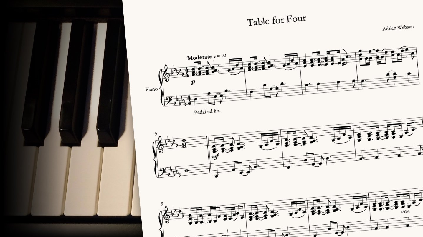 Table For Four by CrusaderBeach - sheet music close-up