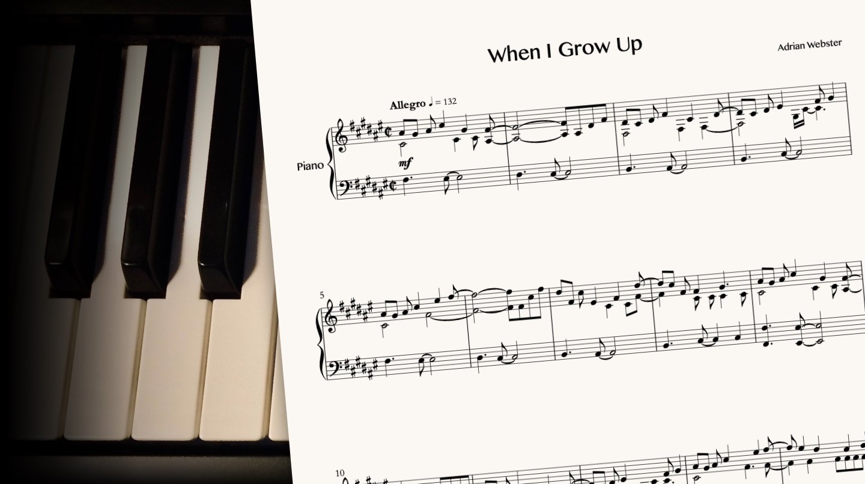 When I Grow Up by CrusaderBeach - sheet music close-up