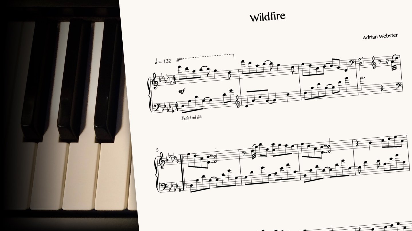 Wildfire by CrusaderBeach - sheet music close-up